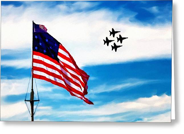 Angel Blues Greeting Cards - Blue Angels Fly Over Fort McHenry Flag Greeting Card by  Bob Johnston