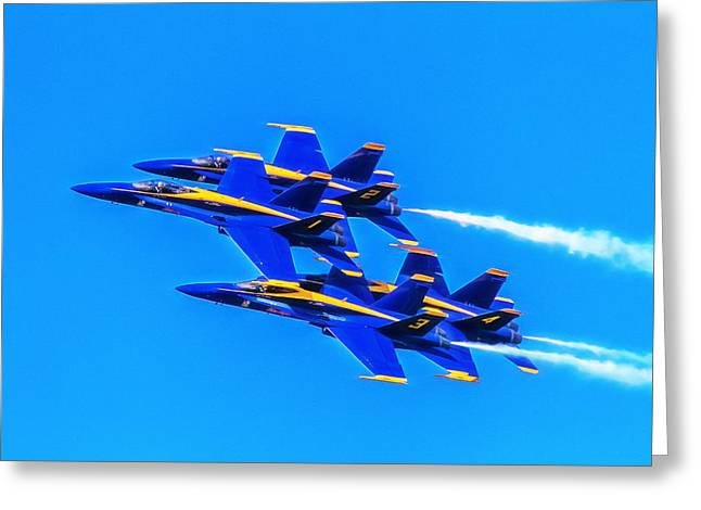 Fighters Greeting Cards - Blue Angels Glow Greeting Card by Bill Gallagher
