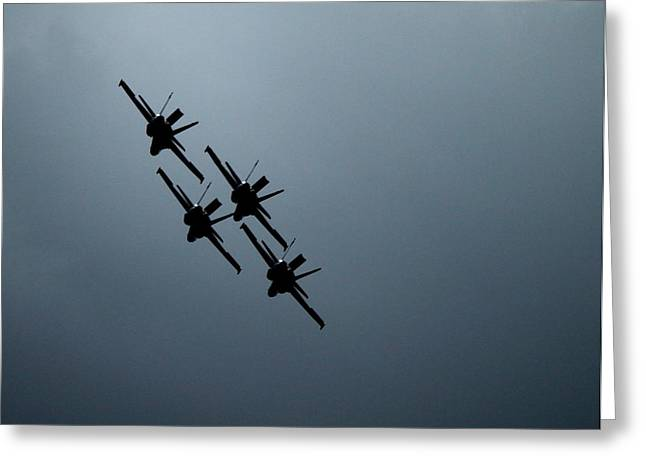 Airshow Flight Greeting Cards - Blue Angels in Silhouette Greeting Card by Saya Studios