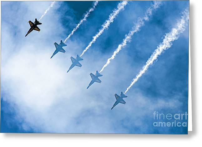 Angel Blues Greeting Cards - Blue Angels Greeting Card by Kate Brown