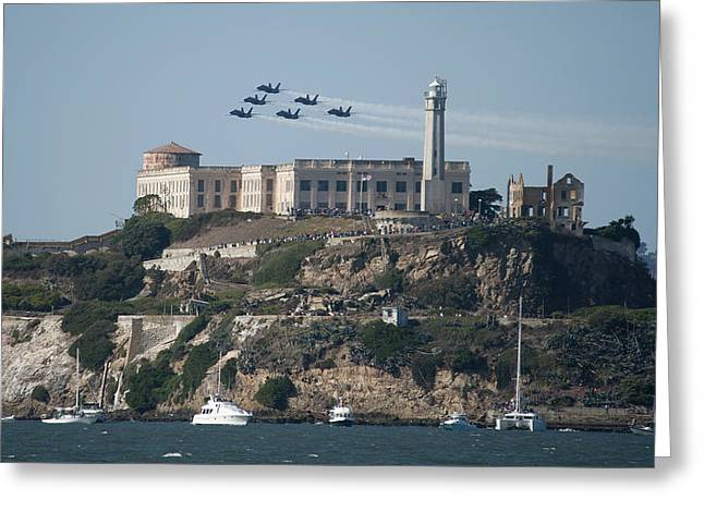 Alcatraz Greeting Cards - Blue Angels over Alcatraz Greeting Card by Mountain Dreams