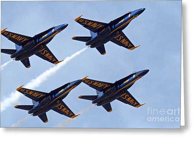 Angel Blues Greeting Cards - Blue Angels over Colorado Greeting Card by Bob Hislop