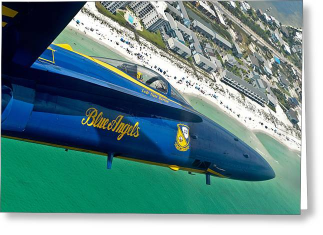 Angel Blues Greeting Cards - Blue Angels over Pensacola Beach Greeting Card by Specialist 2nd Class Andrea Perez