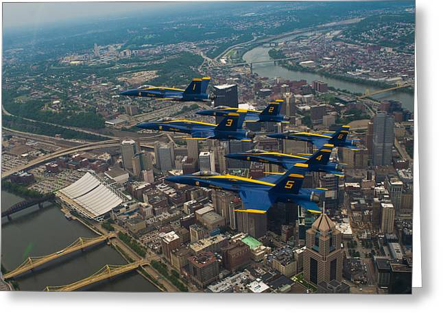 Blue Angels Over Pittsburg Greeting Card by Specialist 2nd Class Kathryn E Macdonald