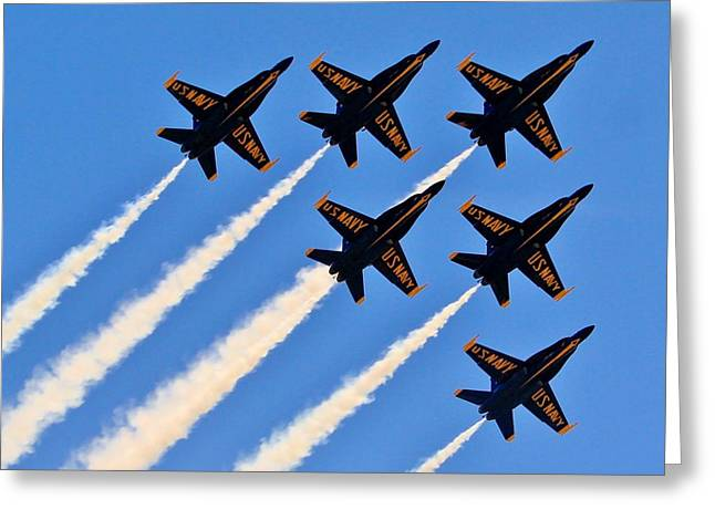 Recently Sold -  - Angel Blues Greeting Cards - Blue Angels Overhead Greeting Card by Benjamin Yeager