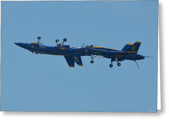 Angel Blues Greeting Cards - Blue Angels Practice Up and Down with Low and Slow Greeting Card by Jeff at JSJ Photography