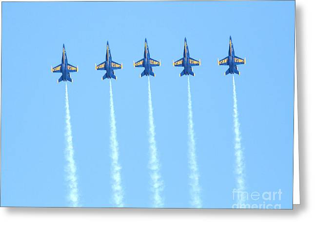 Jet Greeting Cards - Blue Angels Reaching New Heights Greeting Card by Wingsdomain Art and Photography