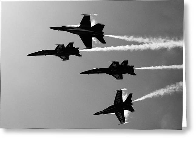 Military Airplanes Greeting Cards - Blue Angels Silhouette Greeting Card by Alex Snay