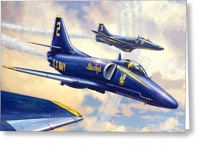 Blue Angels Skyhawk Greeting Card by Stu Shepherd