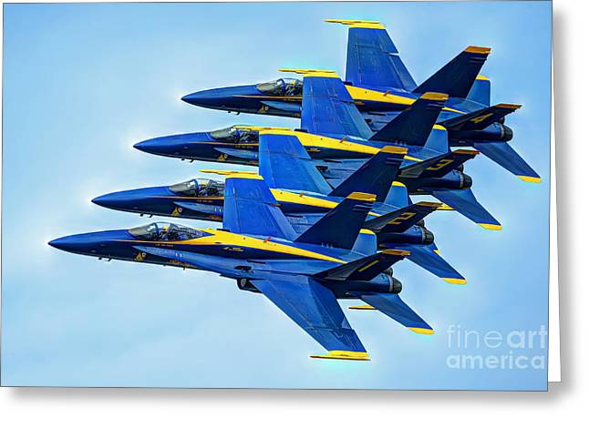 Fa-18 Greeting Cards - Blue Angles  Greeting Card by Richard Mann
