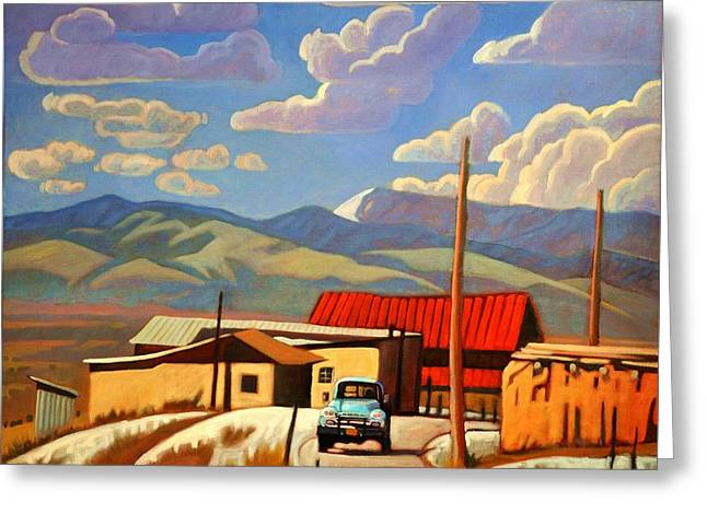 Classic Pickup Paintings Greeting Cards - Blue Apache Greeting Card by Art James West