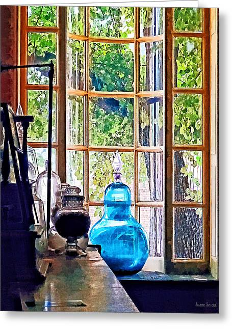 Blue Apothecary Bottle Greeting Card by Susan Savad