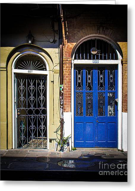 Historical Pictures Greeting Cards - Blue Arch Door Greeting Card by Perry Webster