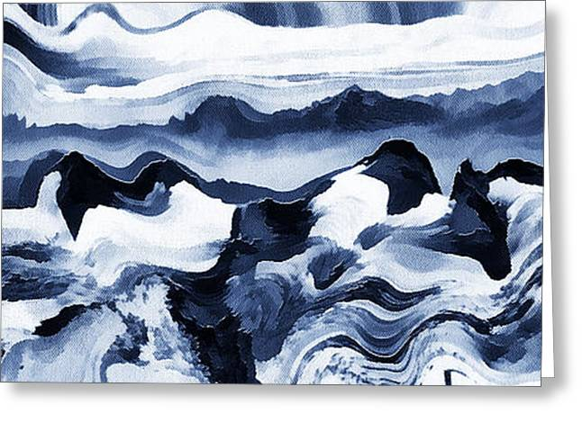 Czintos Abstract Greeting Cards - Blue art abstract Greeting Card by Odon Czintos