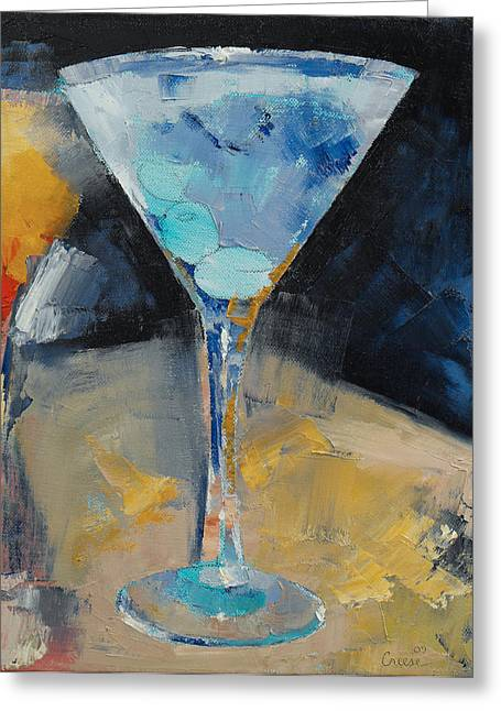Cosmos Paintings Greeting Cards - Blue Art Martini Greeting Card by Michael Creese