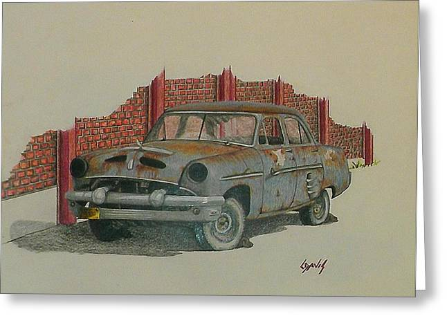 Rusted Cars Drawings Greeting Cards - Blue Baby Greeting Card by Lew Davis
