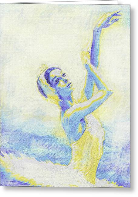 Ballet Dancers Greeting Cards - Blue Ballerina Greeting Card by Jane Schnetlage
