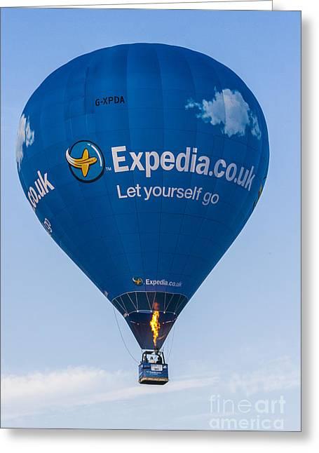 Hot Air Balloons Greeting Cards - Blue Balloon Greeting Card by Brian Roscorla