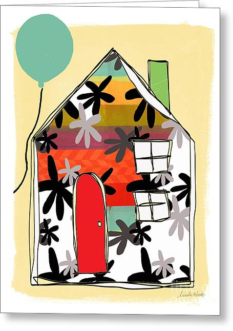 Striped Mixed Media Greeting Cards - Blue Balloon Greeting Card by Linda Woods