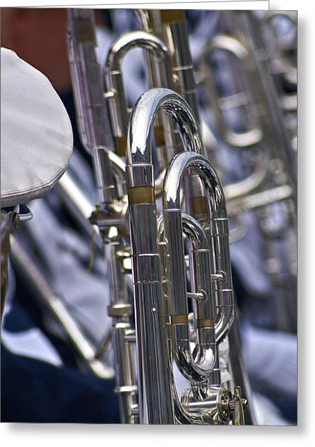 Marching Band Greeting Cards - Blue Band Brass Greeting Card by Tom Gari Gallery-Three-Photography