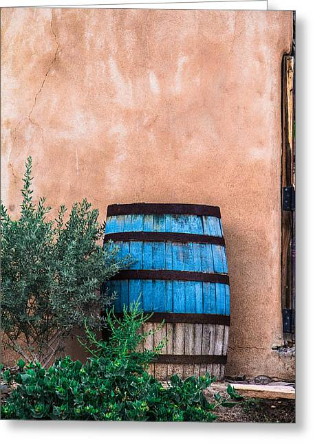Blue Barrel With Adobe Greeting Card by Steven Bateson