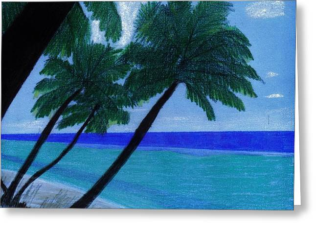 Surf Art Drawings Greeting Cards - Blue - Beach Greeting Card by D Hackett