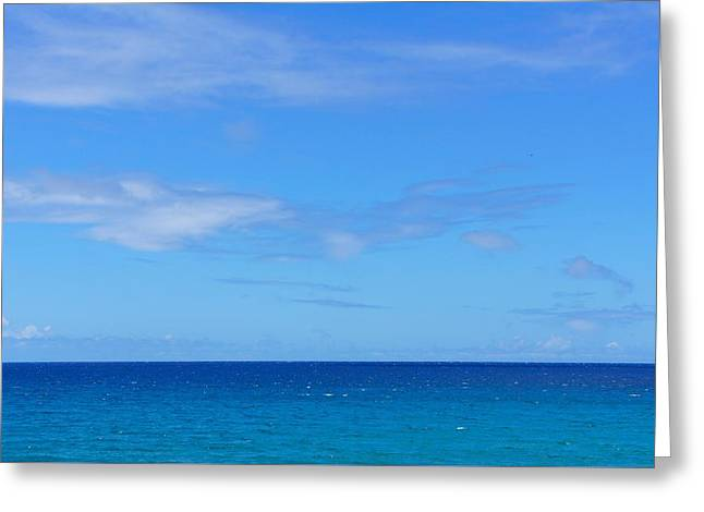 Beach Greeting Cards - Beautiful Blue Sea Greeting Card by Sheela Ajith