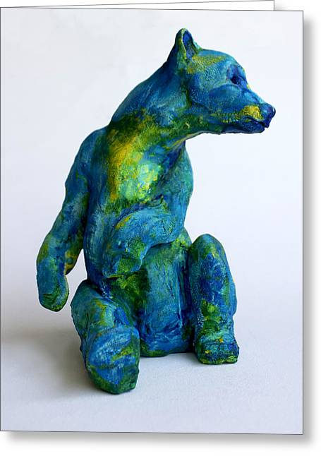 Animal Sculpture Sculptures Greeting Cards - Blue Bear Greeting Card by Derrick Higgins