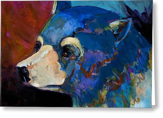Fauvist Wildlife Art Greeting Cards - Blue Bear II Greeting Card by Bob Coonts