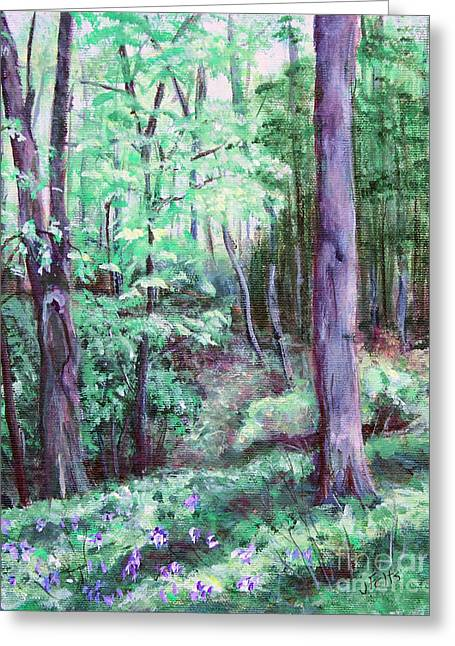 Forest Floor Paintings Greeting Cards - Blue Bells in Bloom Greeting Card by Janet Felts