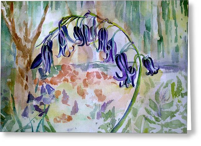 Blue Flowers Drawings Greeting Cards - Blue Bells Greeting Card by Mindy Newman