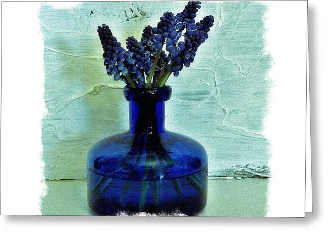 Blue Grapes Greeting Cards - Blue Bells on Green Greeting Card by Marsha Heiken