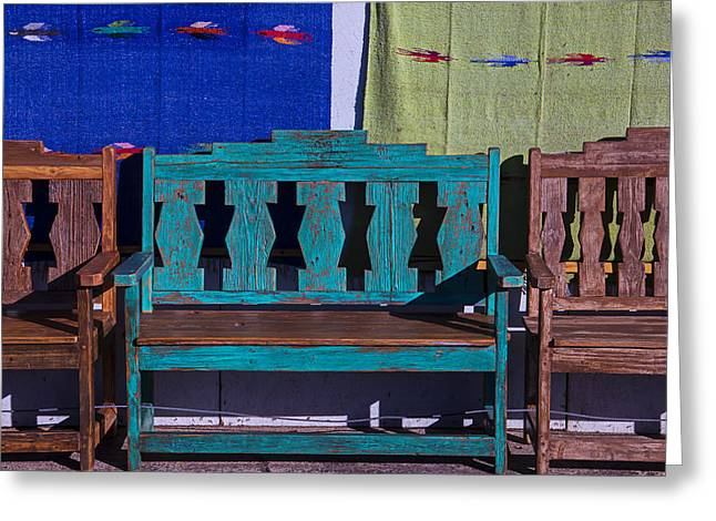 Santa Fe Greeting Cards - Blue Bench Greeting Card by Garry Gay
