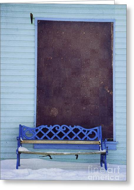 Bench Photographs Greeting Cards - Blue Bench Greeting Card by Priska Wettstein