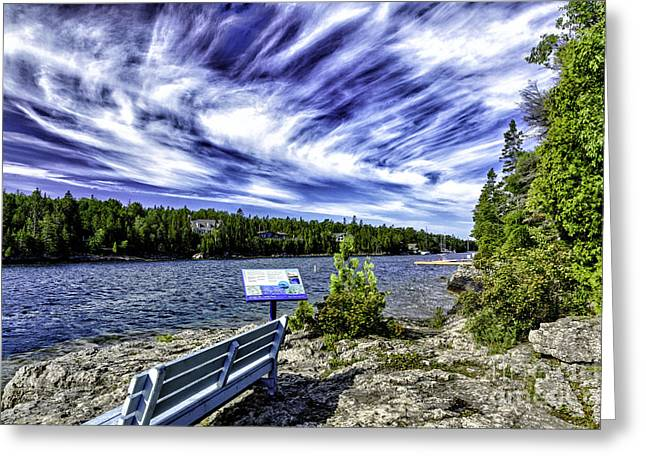 Manitoulin Greeting Cards - Blue Bench Greeting Card by Timothy Hacker