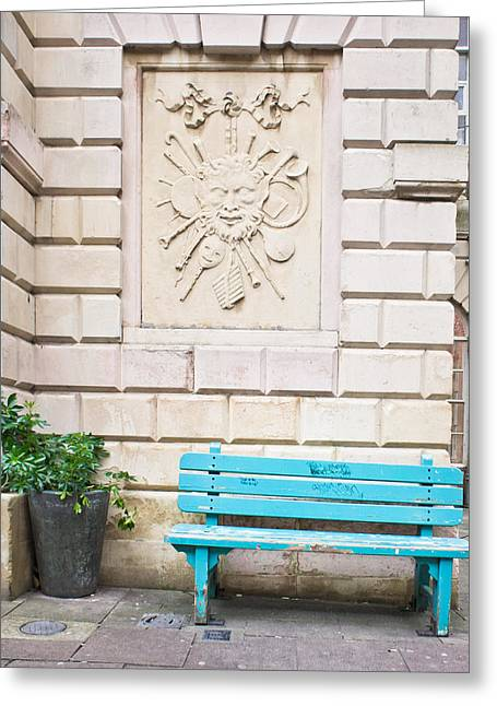 Town Walls Greeting Cards - Blue bench Greeting Card by Tom Gowanlock