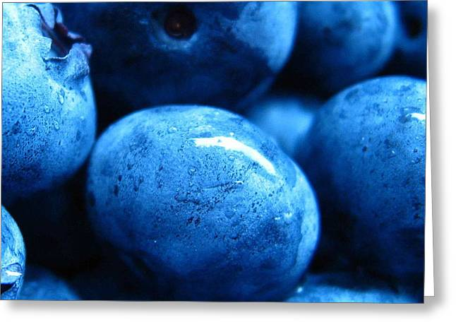 Berry Greeting Cards - Blue Berries Greeting Card by Aza Johnson