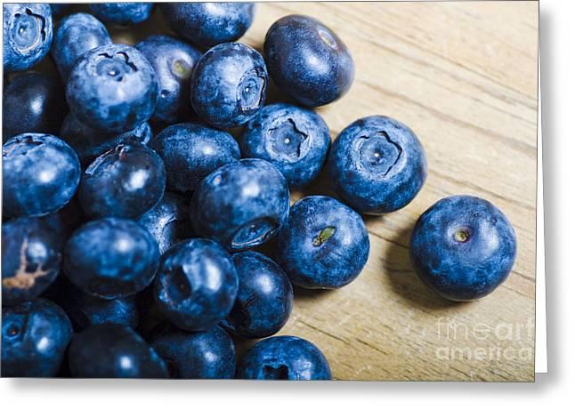 Fresh Food Greeting Cards - Blue Berries  Greeting Card by Ryan Jorgensen