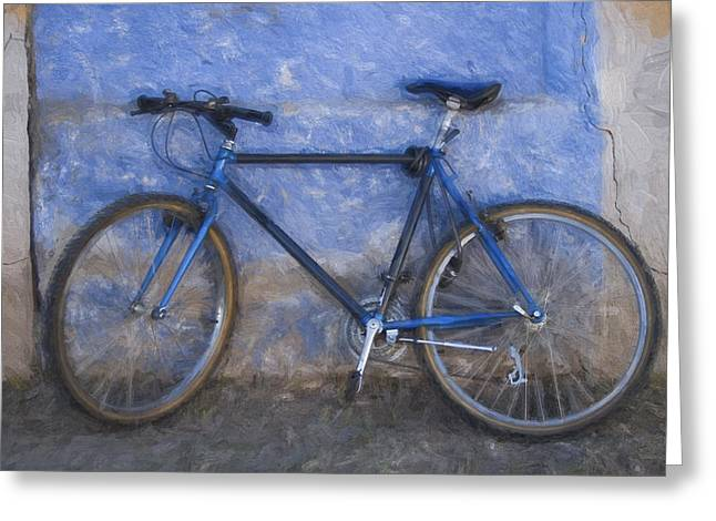 Blue Bike Greeting Cards - Blue Bike Blue Wall Painterly Effect Greeting Card by Carol Leigh