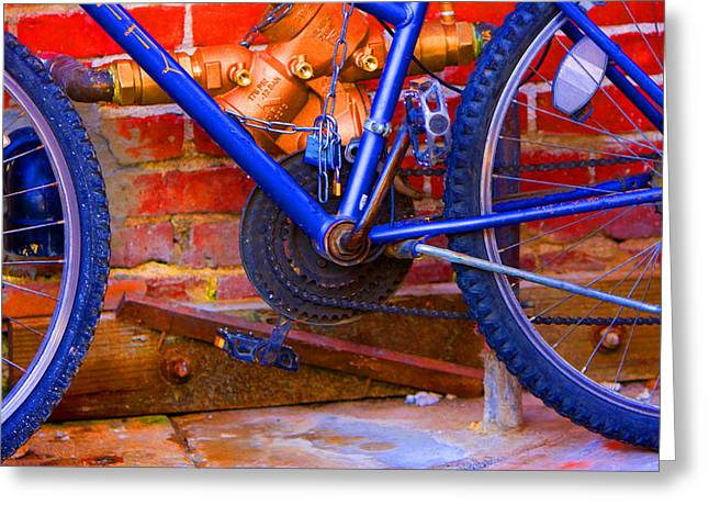Gear Pyrography Greeting Cards - Neon Bike Greeting Card by Jerry Hetrick