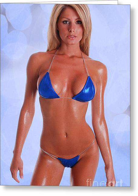 Swimmers Greeting Cards - Blue Bikini Greeting Card by Jt PhotoDesign