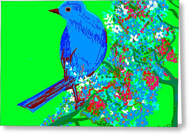 Blue Bird And Flowers Greeting Card by Anand Swaroop Manchiraju