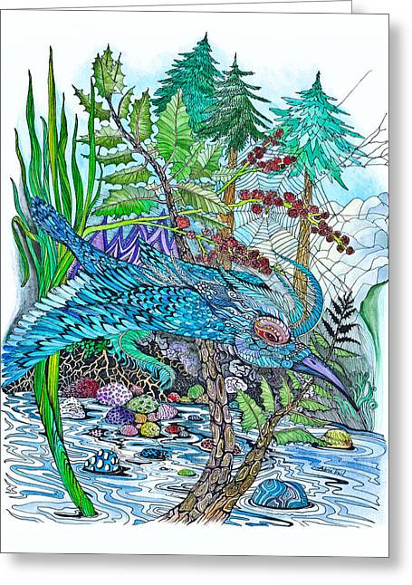 Colorful Creatures Drawings Greeting Cards - Blue Bird Breezin Greeting Card by Adria Trail