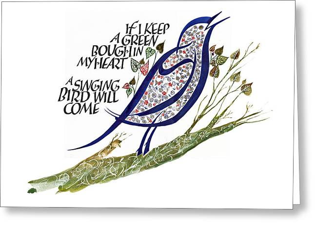 Calligraphy Print Greeting Cards - Blue Bird Greeting Card by Dave Wood