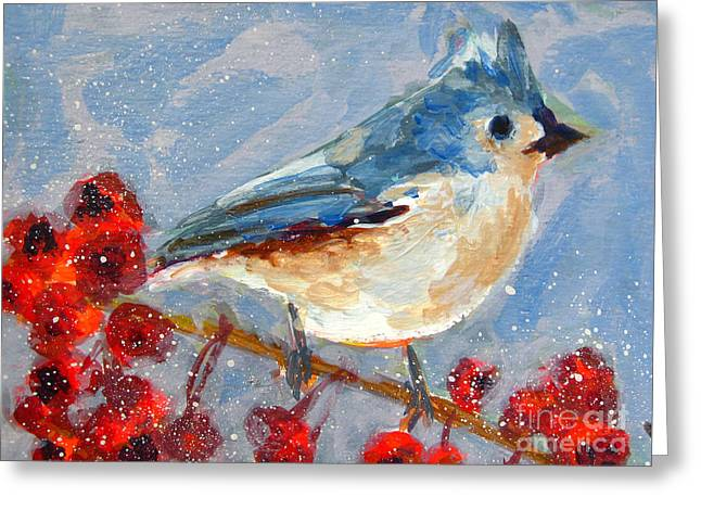 Season Paintings Greeting Cards - Blue Bird in Winter - Tuft titmouse Greeting Card by Patricia Awapara