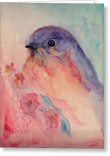 40s Paintings Greeting Cards - Blue Bird Greeting Card by Paula Lay