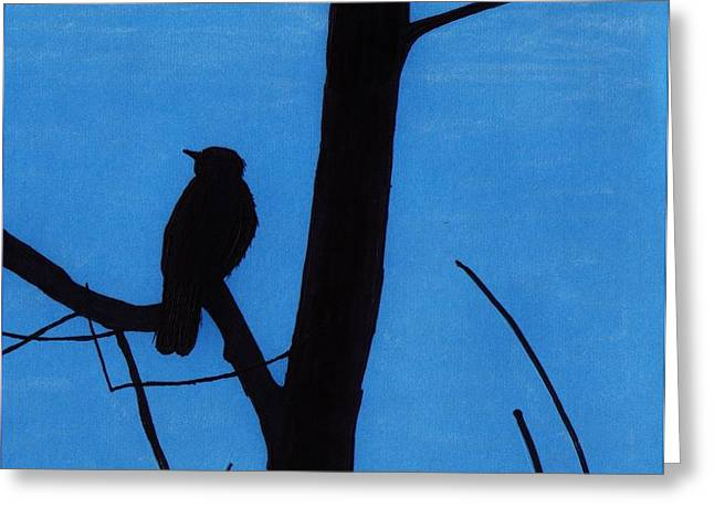 Best Seller Drawings Greeting Cards - Blue - Silhouette - Bird Greeting Card by D Hackett