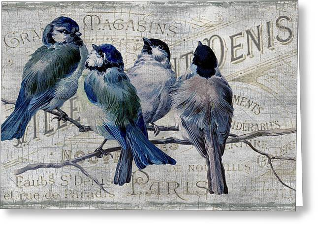Europe Mixed Media Greeting Cards - Blue Birdies Greeting Card by Chanin Green