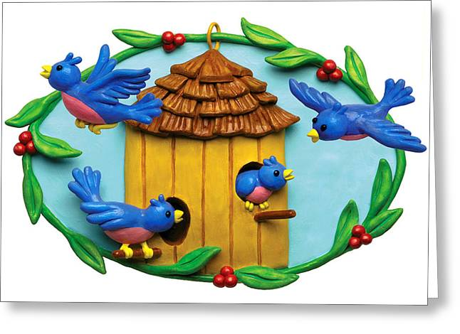 Cute Mixed Media Greeting Cards - Blue Birds fly Home Greeting Card by Amy Vangsgard