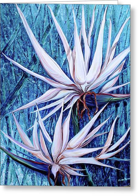Strelitzia Paintings Greeting Cards - Blue Birds Greeting Card by Karin Kelshall- Best